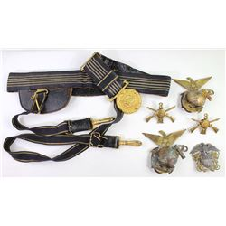 Collection of 7 military items includes Navel belt with belt plate and sword hanger, sterling silver