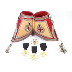Collection of 5 Masonic items includes Henderson Ames leather cuffs and 4 enamel badge metals.Hender