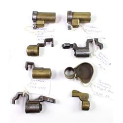 Collection of 8 rifle muzzle covers includes 1898 Krag, 2) German G98, and 5 unidentified.1898 Krag,