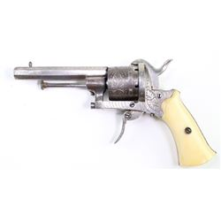 """Antique Belguim civil war period pinfire revolver engraved with 3 3/8"""" barrel and bone ivory grips,"""