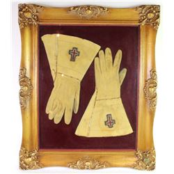 """Framed pair of early Masons leather guantlets 21"""" X 25"""".21"""" X 25""""."""
