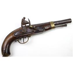 "Unmarked early flintlock pistol with 9"" octagon to flared round barrel, tulip head ramrod, walnut st"