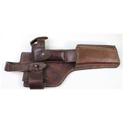 Leather holster for Broomhandle Mauser C96 the back stamped Ansdeuter Augsburg 1917, remains soft su