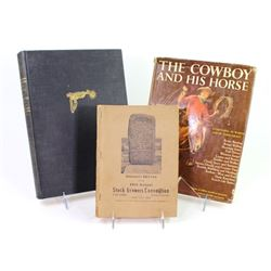 Collection of 3 books includes 1950 Stock Growers Convention Ft. Pierre SD, The Cowboy and His Horse