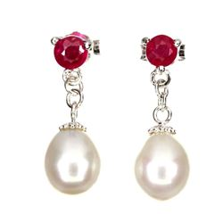Stunning Natural Pearl & Red Ruby Earrings