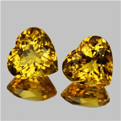 Natural AAA Golden Yellow Citrine Hearts  Pair - FL