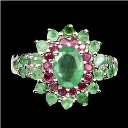 Natural Top Rich Green Emerald & Ruby Ring