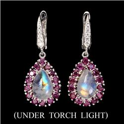 Natural 12x8mm Moonstone & Rhodolite Garnet Earrings