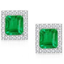 Stunning Columbian Emerald & Diamond EarRings