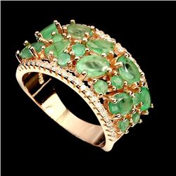 Natural Rich Green Columbian Emerald Ring