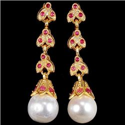 NATURAL WHITE PEARL & PINK RED RUBY Earrings