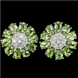 Natural Green Peridot Flower Earrings