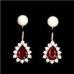 Natural Red Ruby & Pearl  Earrings
