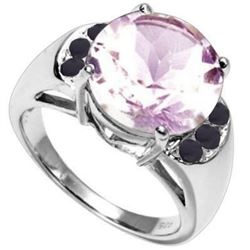 Natural Pink Amethyst & Sapphire Ring