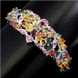 Natural Fancy Color Sapphire & Ruby 102 Ct  Bangle