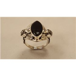 STUNNING BLACK ONYX AND HERKIMER DIAMOND RING