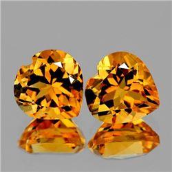 NATURAL GOLDEN YELLOW CITRINE Heart Pair 11 MM - FL
