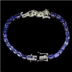 Natural Tanzanite Chrome Diopside Emerald Bracelet