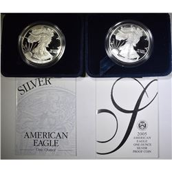 2002-W & 2005-W PROOF AMERICAN SILVER EAGLES  OGP