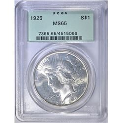 1925 PEACE DOLLAR  PCGS  MS-65 OGH