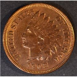 1908 INDIAN HEAD CENT, CH BU RB