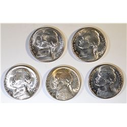 5-BU 1942-S SILVER JEFFERSON  WAR NICKELS