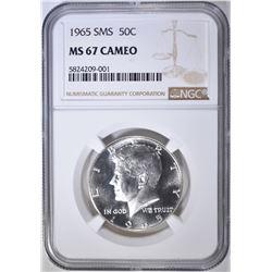 1965 SMS KENNEDY HALF NGC MS-67 CAMEO