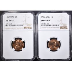 1966 & 67 SMS LINCOLN CENTS, NGC MS-67 RED