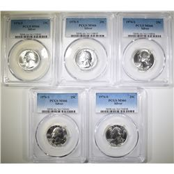 5-1976-S SILVER WASHINGTON QUARTERS, PCGS MS-66