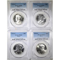 4-1976-S SILVER KENNEDY HALVES PCGS MS-66