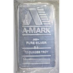 """TEN OUNCE .999 SILVER """"A-MARK"""""""