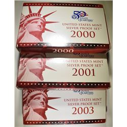 2000, '01 & '03 US MINT SILVER PROOF SETS