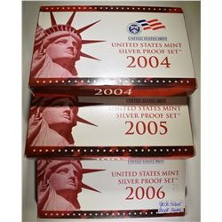 2004, '05 & '06 US MINT SILVER PROOF SETS