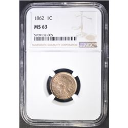 1862 INDIAN CENT  NGC MS-63