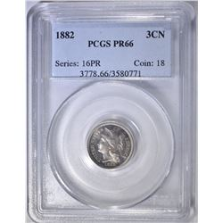 1882 3 CENT NICKEL   PCGS  PR-66