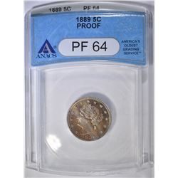 1889 LIBERTY NICKEL   ANACS  PF-64