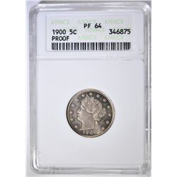1900 LIBERTY NICKEL   ANACS PF-64