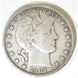 1904-O BARBER HALF DOLLAR  SOLID VF+