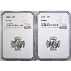 1946-S & 47-S ROOSEVELT DIMES, NGC MS-66