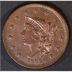 1838 LARGE CENT   CH/GEM UNC