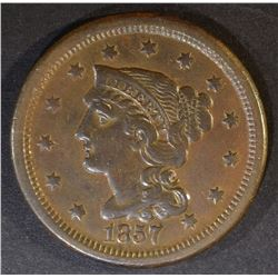 1857 SMALL DATE LARGE CENT  XF/AU