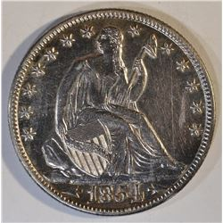 1854-O  ARROWS SEATED HALF DOLLAR  CH AU