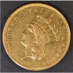 1862 $3 GOLD INDIAN PRINCESS  CH AU/UNC