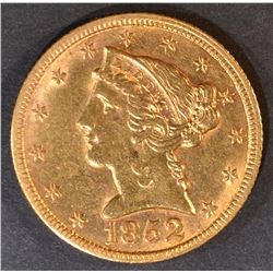1852 $5 GOLD LIBERTY  BU  OLD CLEANING