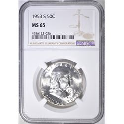 1953-S FRANKLIN HALF DOLLAR  NGC MS-65