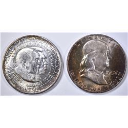 1957-D FRANKLIN HALF & 1983-D WASH/CARV GEM BU