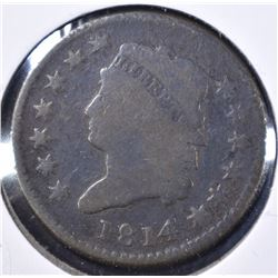 1814 LARGE CENT, PLAIN 4 VG