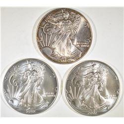 3-2002 BU AMERICAN SILVER EAGLES