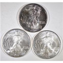 1994, 2004 & 2009 BU AMERICAN SILVER EAGLES