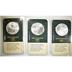 3-1999 BU AMERICAN SILVER EAGLES IN PLASTIC